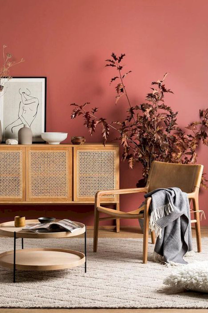 Pantone color of the year 2019, Living coral in living room interior.