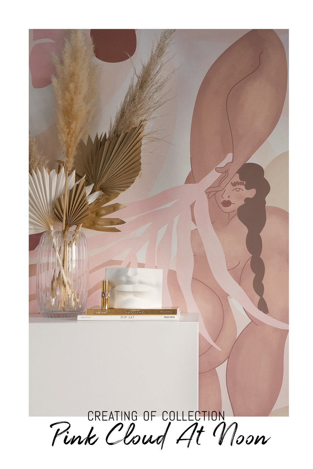 Modern bohemian style wall art collection emphasising powerful female figure