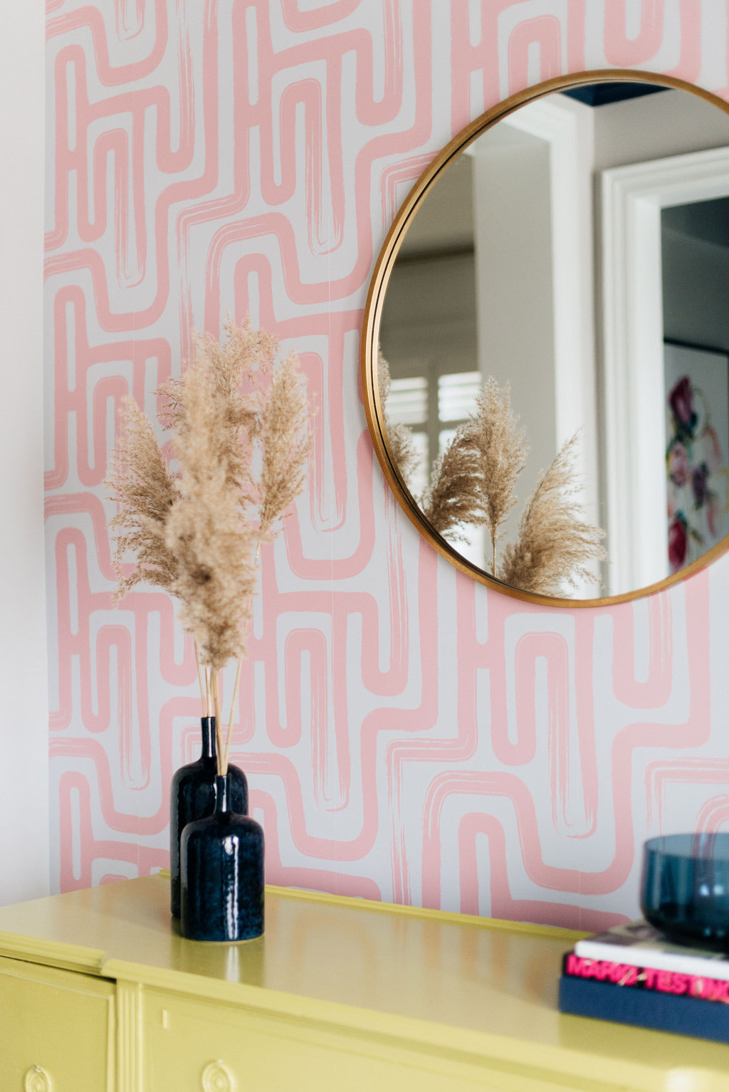 Modern eclectic style foyer interior with pink removable wallpaper