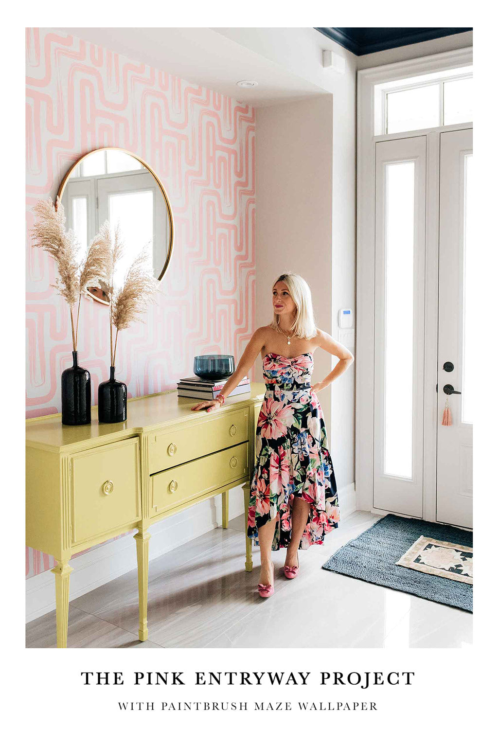 Pink entryway design in eclectic style with modern removable wallpaper