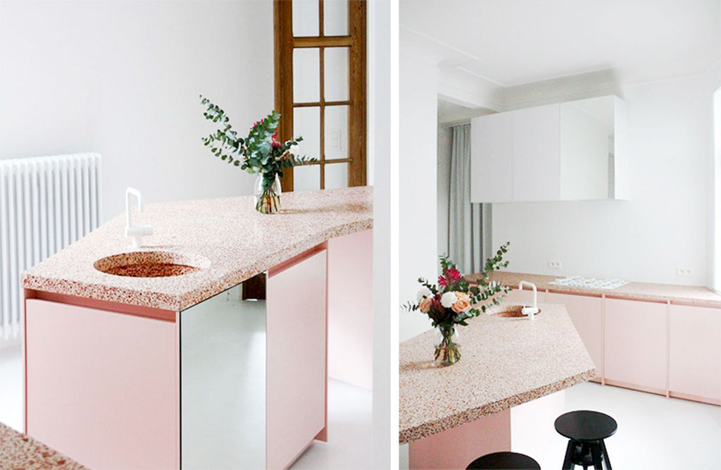 Pink terrazzo kitchen countertop in white interior