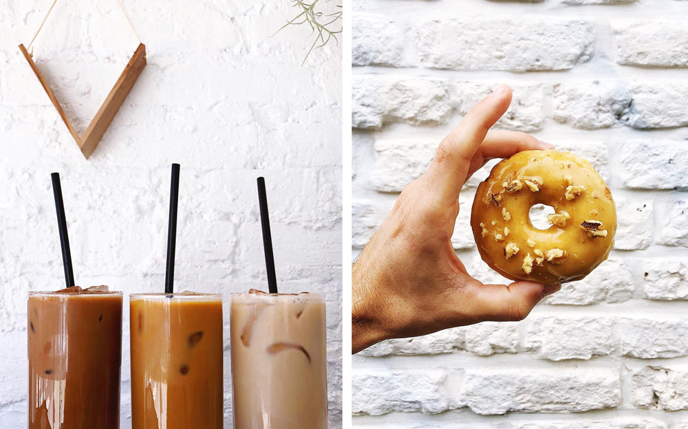 Cold brew coffee and vegan doughnuts