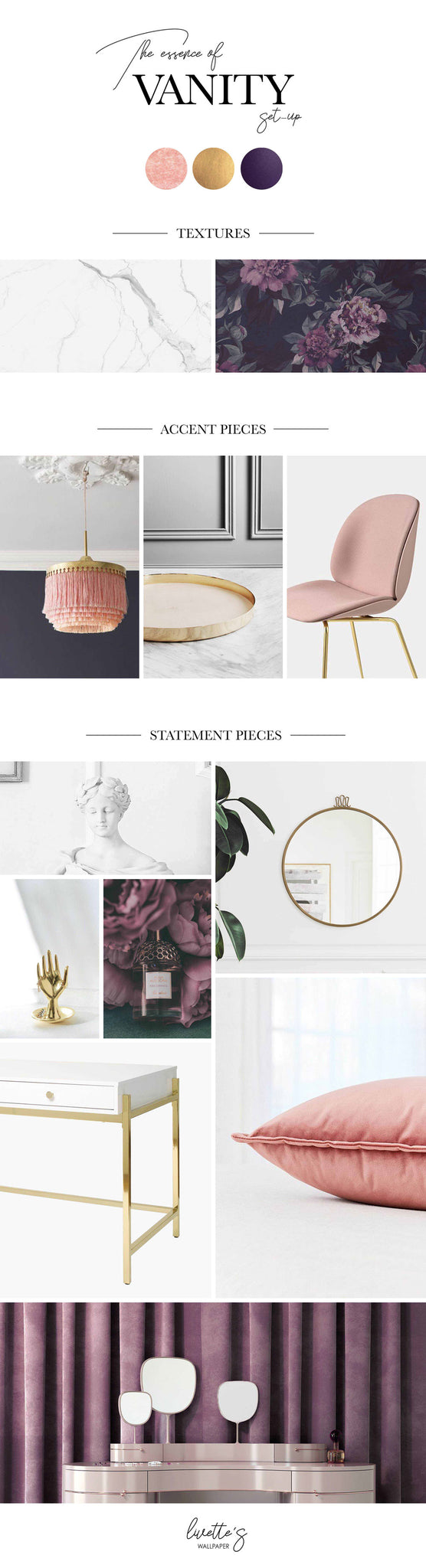 Interior mood board with dark floral wallpaper and marble patterns, pink lamp, chair and velvet pillow