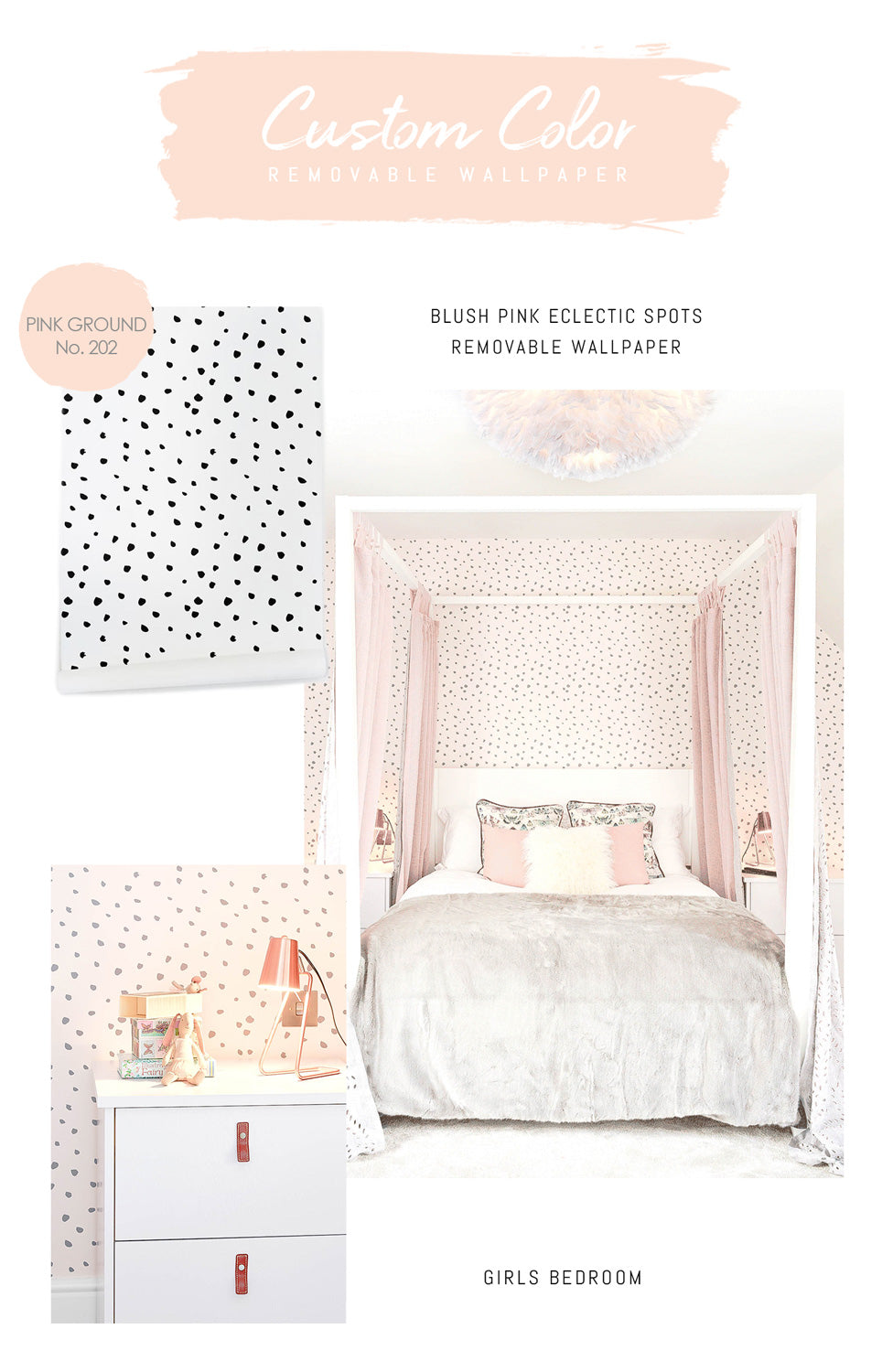 Eclectic spot wallpaper in pink and grey for a girls bedroom