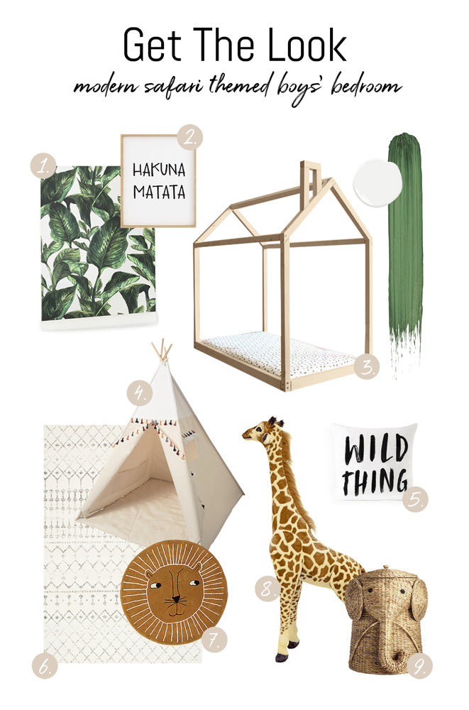 Get the look of modern safari jungle themed bedroom for toddlers