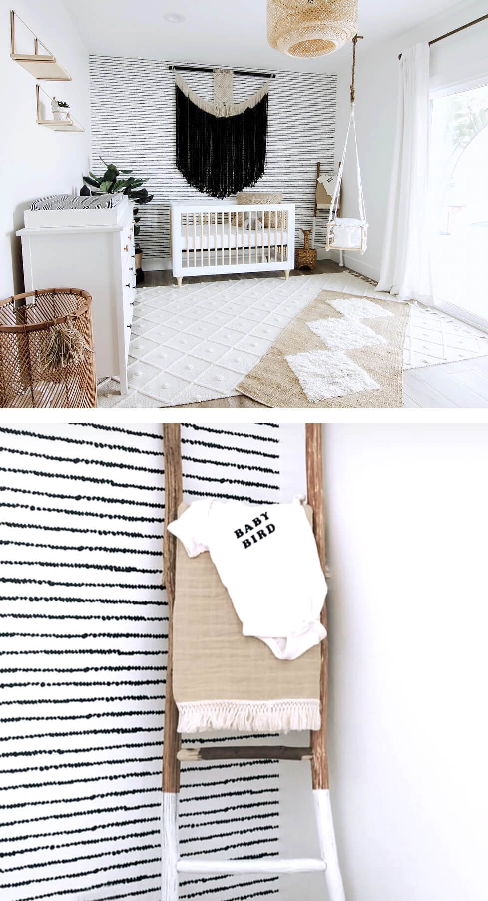 Scandi boho gender neutral nursery with black and white removable wallpaper