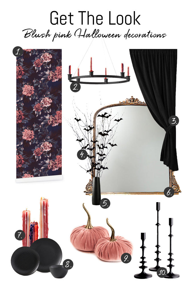 Blush pink halloween party decorations