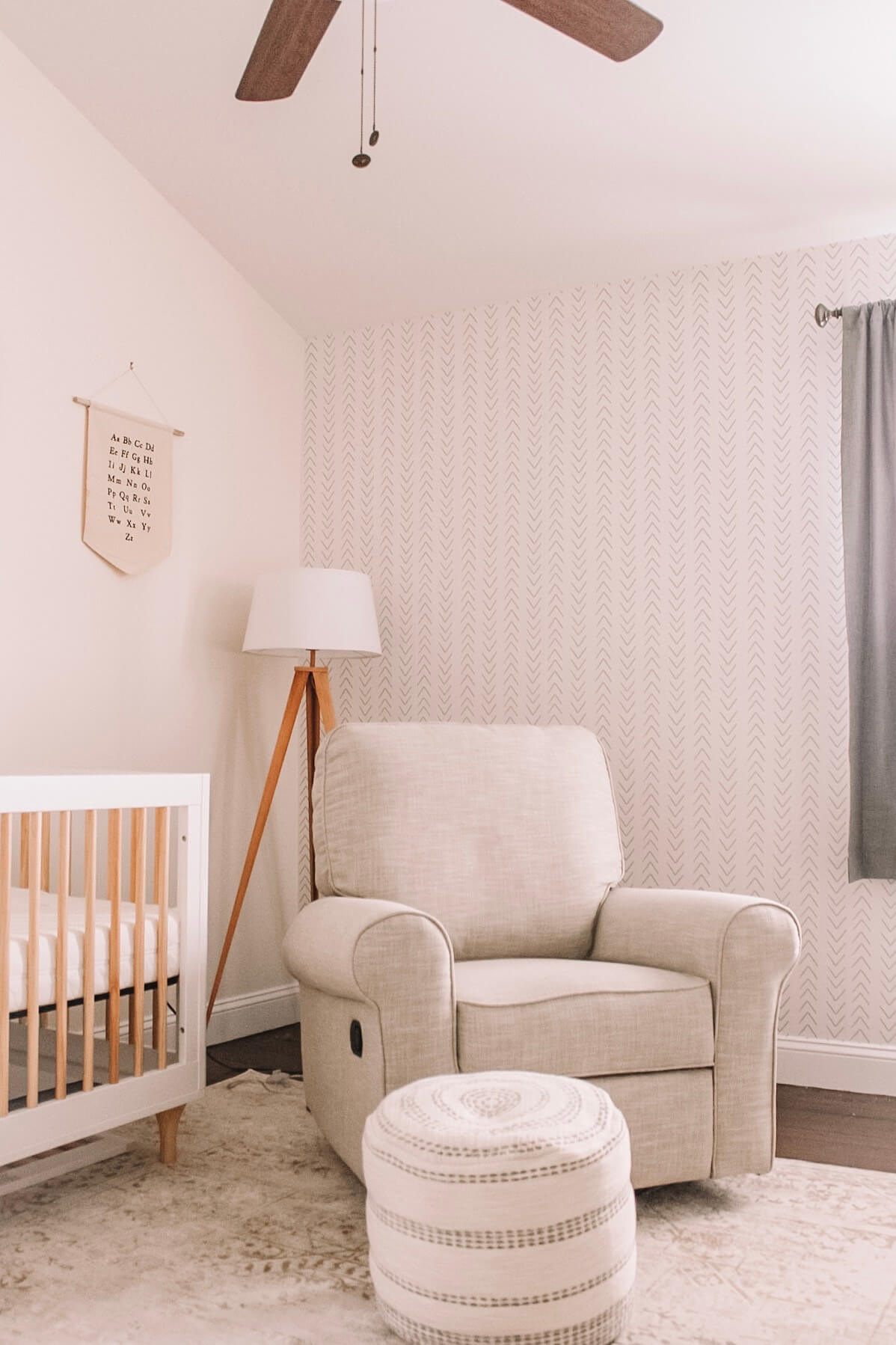 Gender neutral nursery with minimal design removable wallpaper