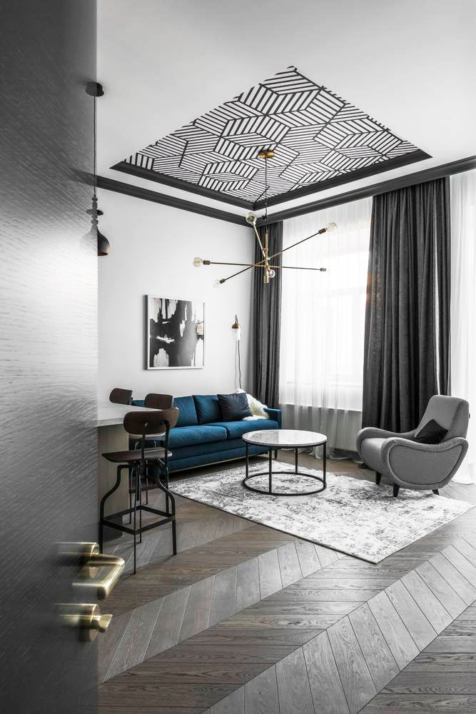 Light interior design with simple statement ceiling look