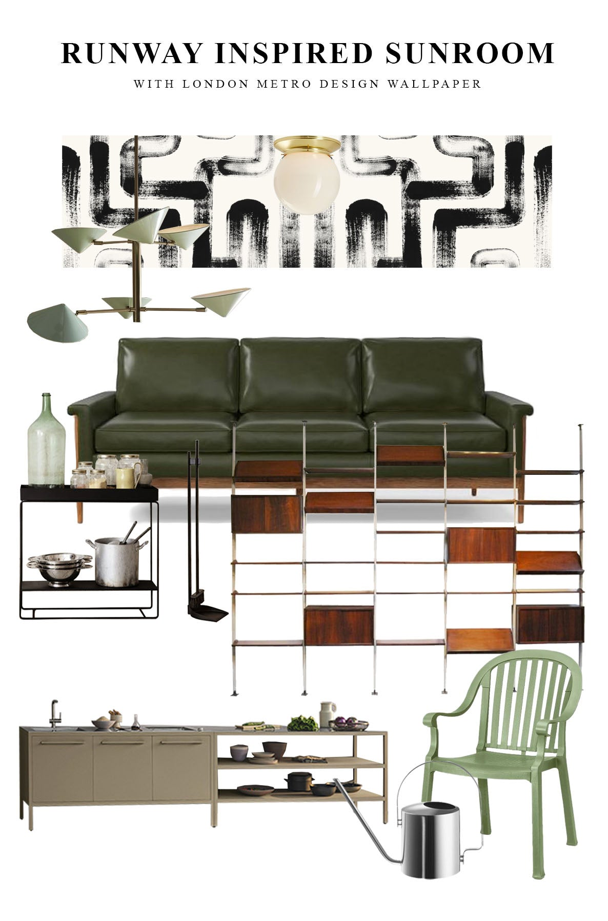 Modern sunroom design mood board with mid-century modern style home decor and removable wallpaper