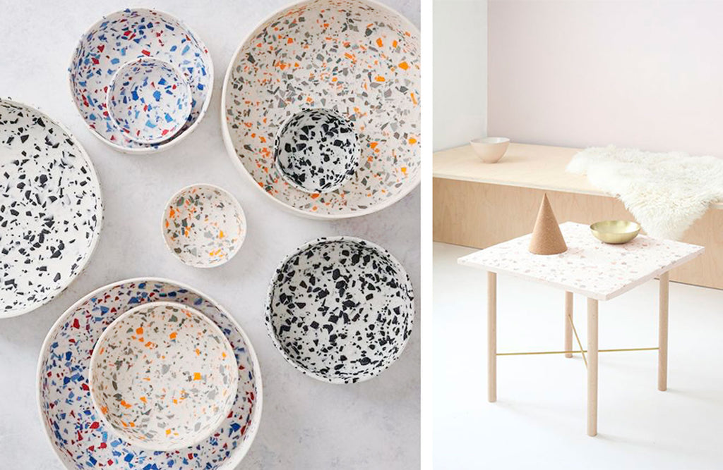 Terrazzo tableware with white terrazzo pattern side table