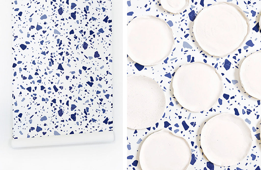 Blue terrazzo removable wallpaper