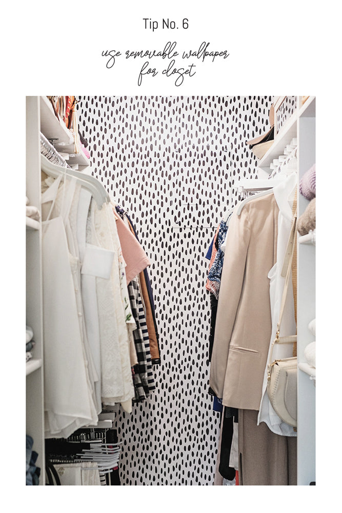 Tiny closet makeover using simple pattern wallpaper by Diana Elizabeth