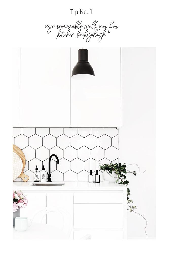 White interior kitchen with honeycomb tile effect wallpaper
