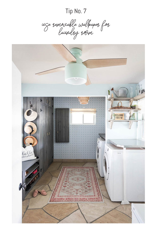 Pink and mint green laundry mud room interior by Diana Elizabeth