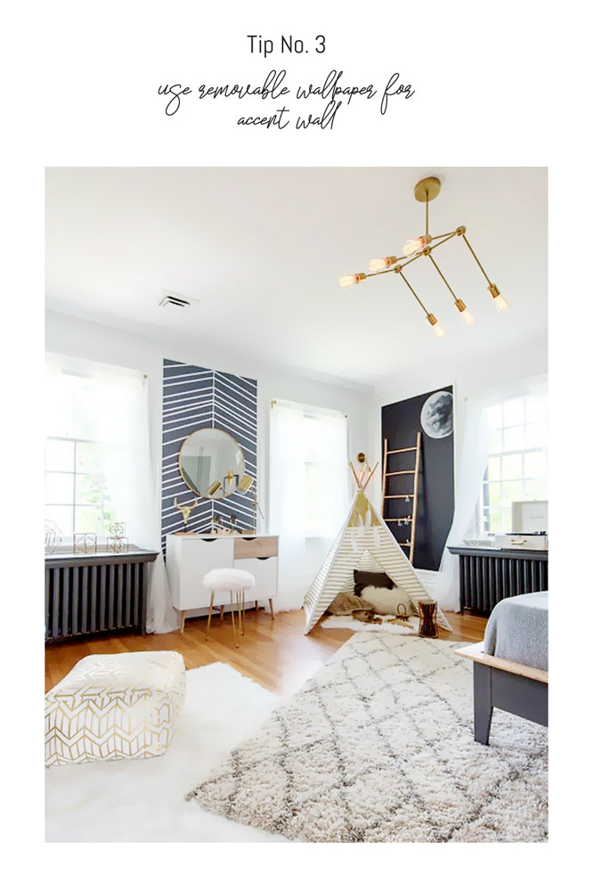 Modern and light kids bedroom interior with gold and wood accessories
