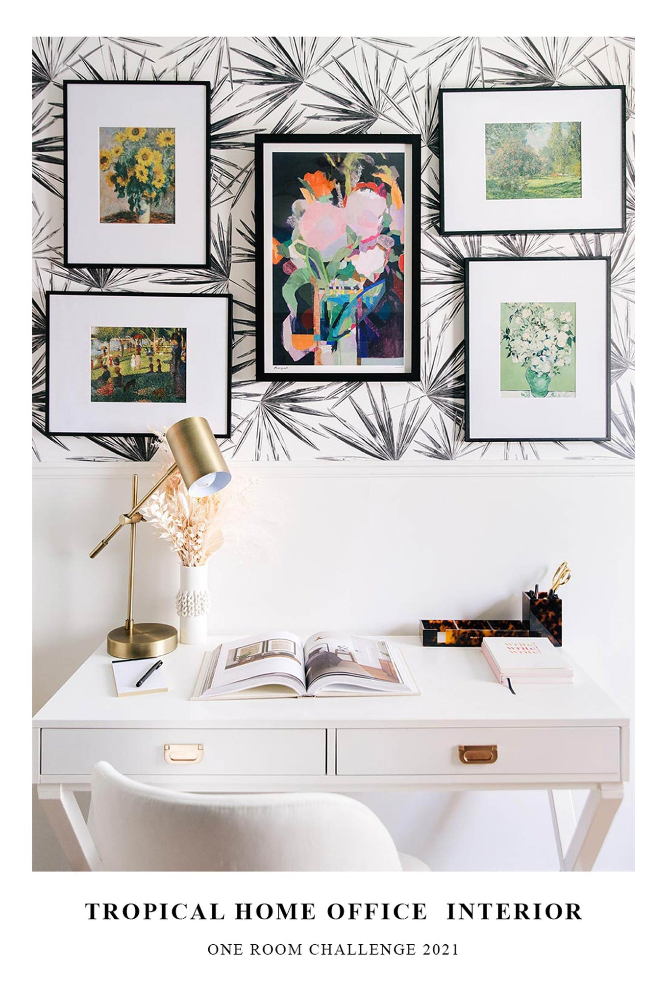 Modern tropical home office interior design, one room challenge 2021
