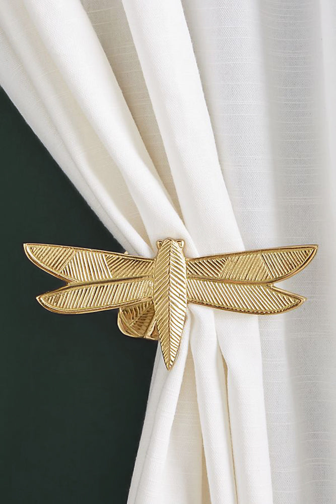 Gold dragonfly curtain tie-backs decor for urban jungle style
