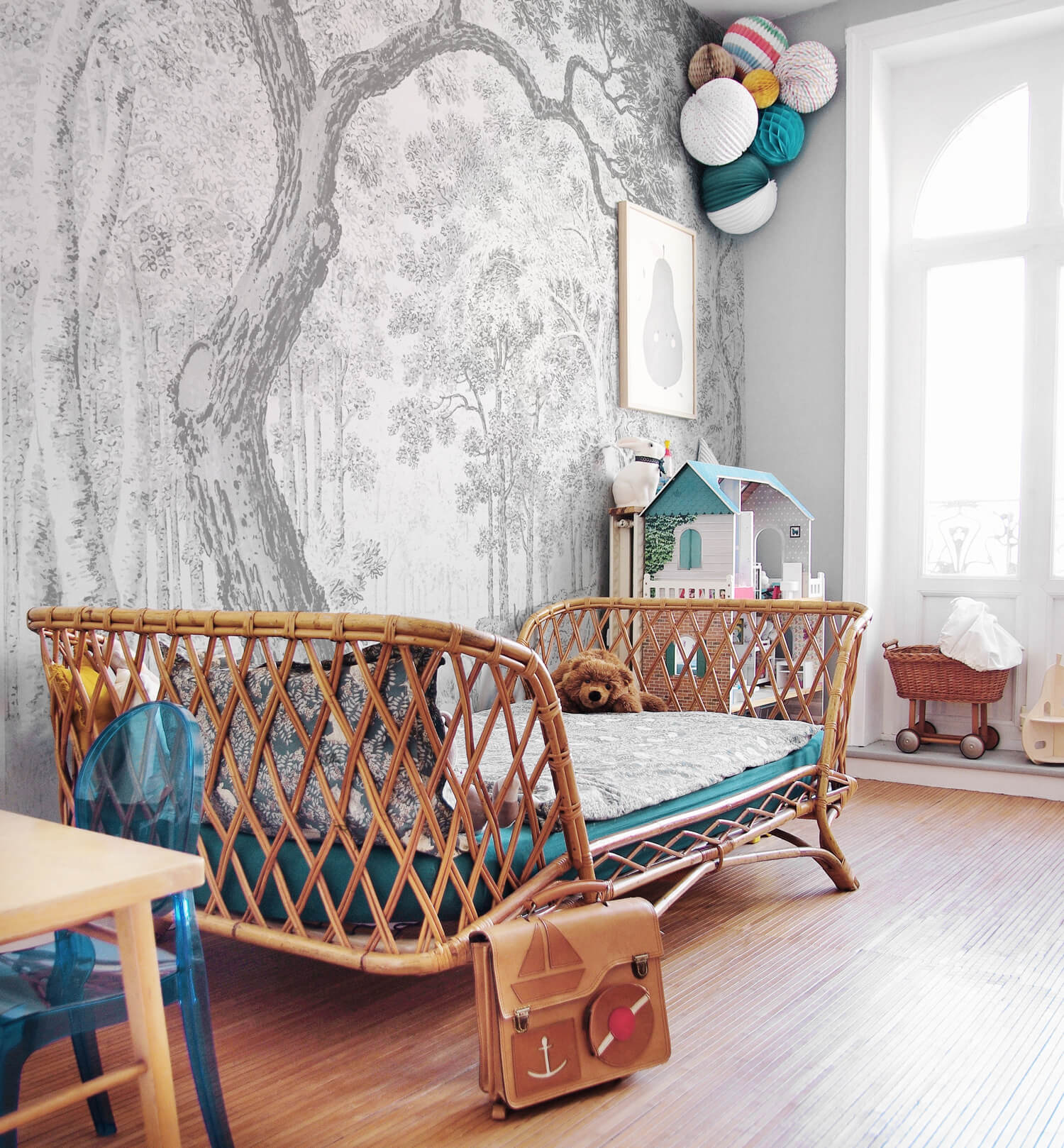Eclectic kids room interior with woodland removable wallpaper and colorful interior decor