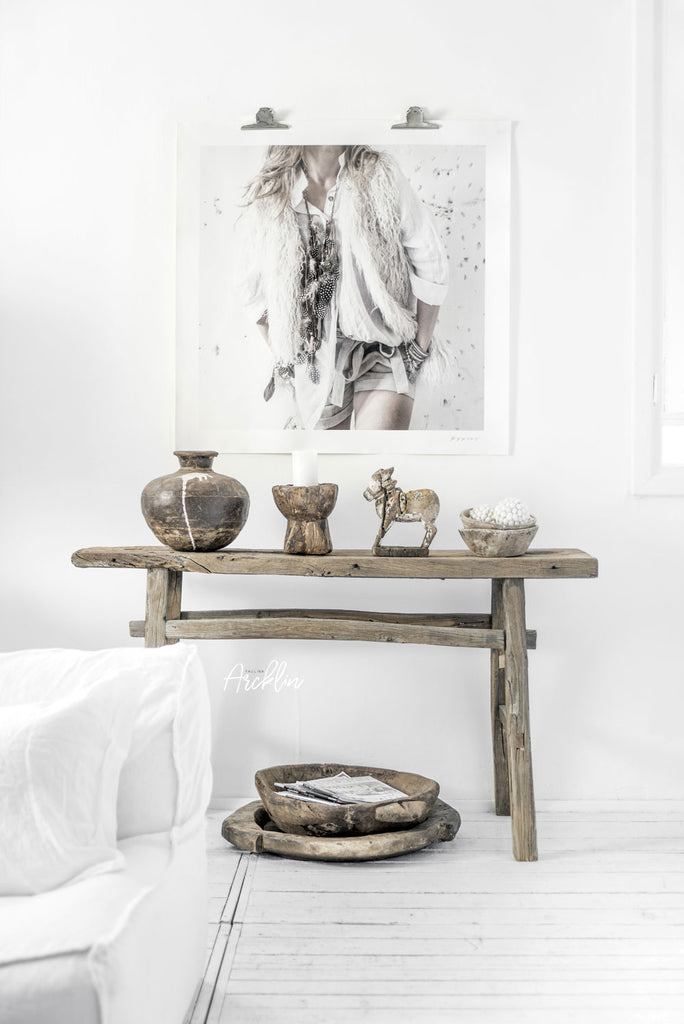 Wabi Sabi elements in interior, white minimal interior, old wood furniture, wood accessories, photo by Paulina Arcklin
