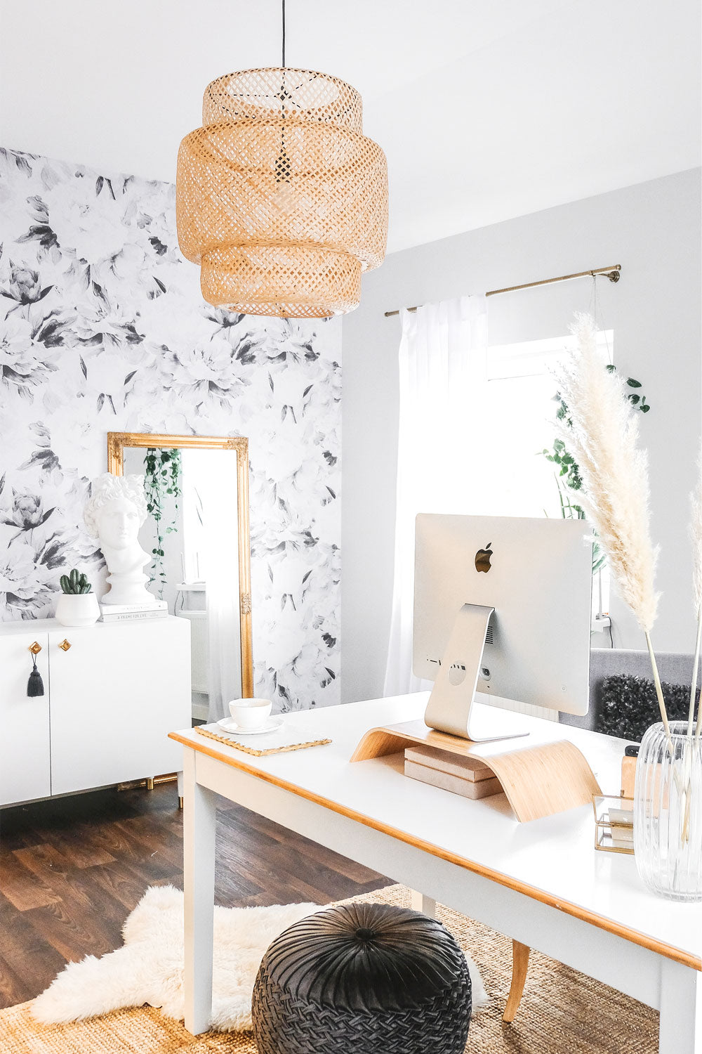 Home office styled with large peony removable wallpaper