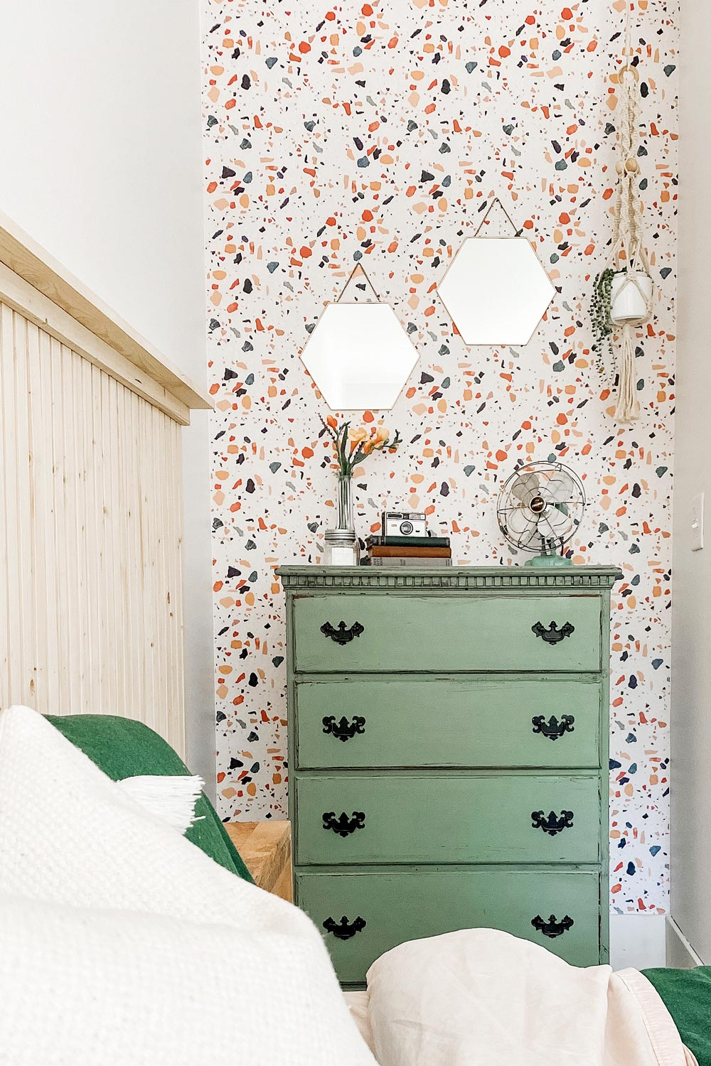 Colorful Terrazzo removable wallpaper styled in rustic bedroom interior