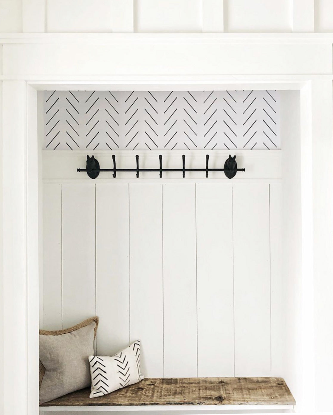 DIY wallpaper project for wallpapered closet nook