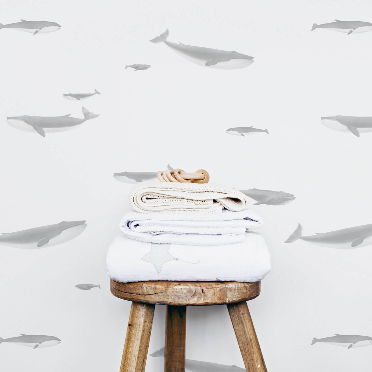Watercolor whale pattern removable wallpaper for sea animal themed baby nursery