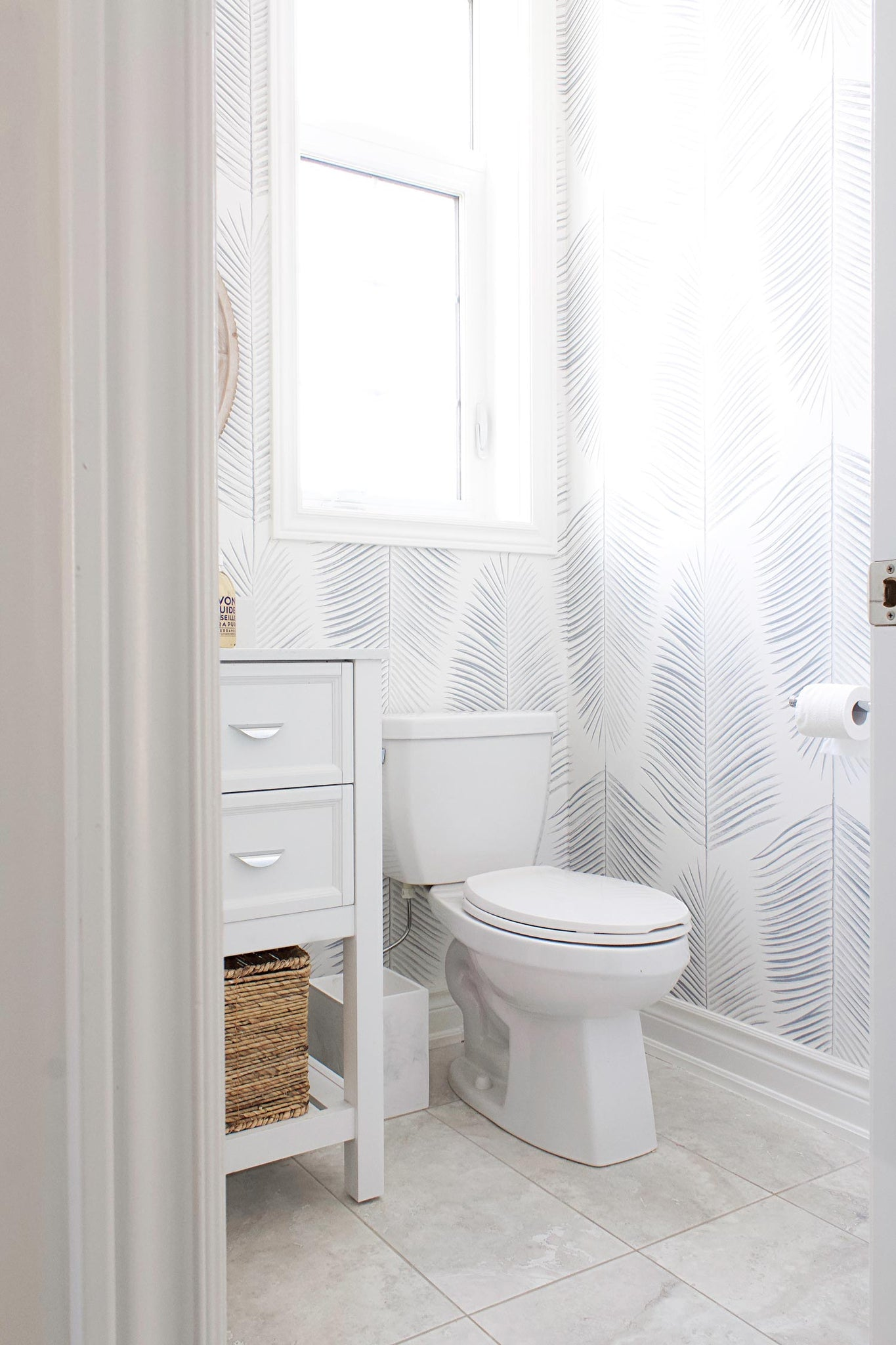 DIY at home featuring easy to install wallpaper in coastal Hamptons style