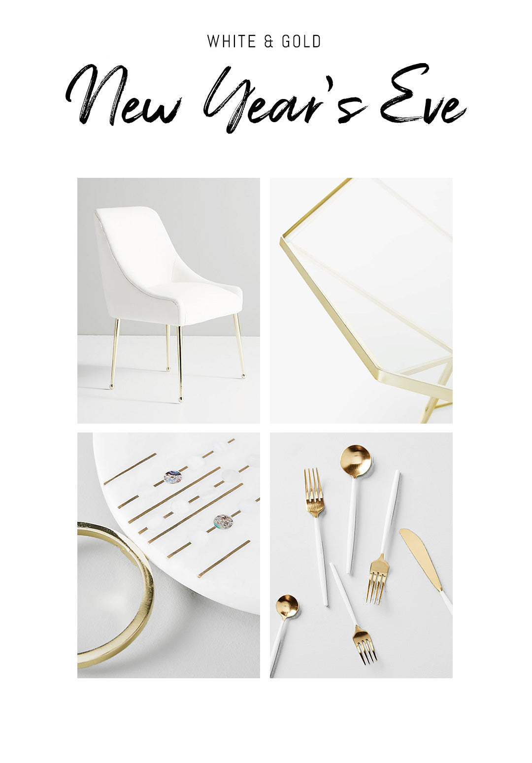 White and gold New Year's eve party mood board with links to shop the look