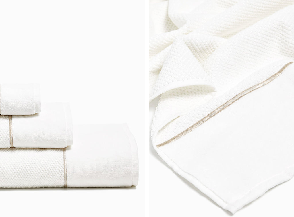 White cotton towels with velvet details from Zara home
