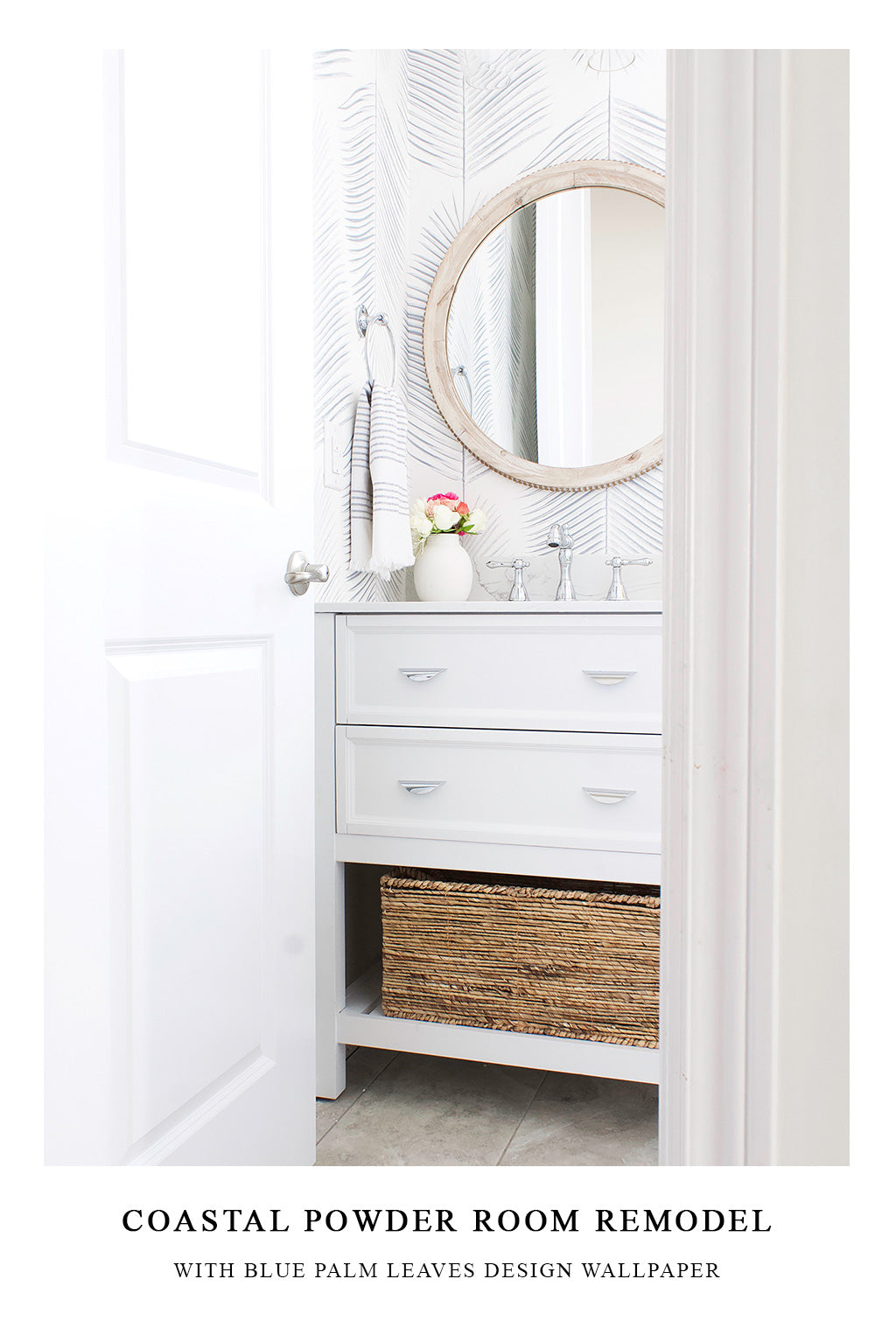 White and blue Hamptons style powder room interior in Studio McGee style with farmhouse decor elements