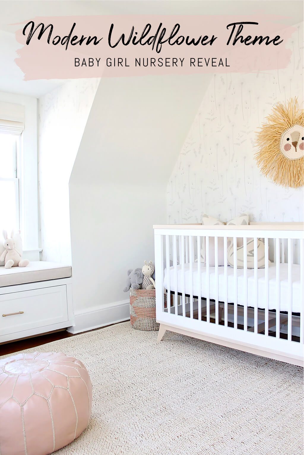 Modern all white wildflower theme baby girl nursery with chic brass and blush pink interior decor