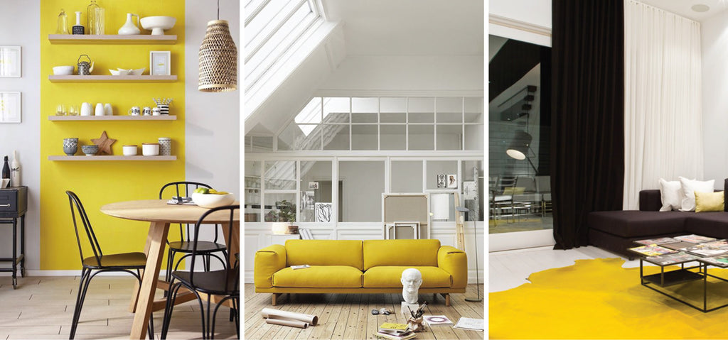 Yellow accents in kitchen and living room