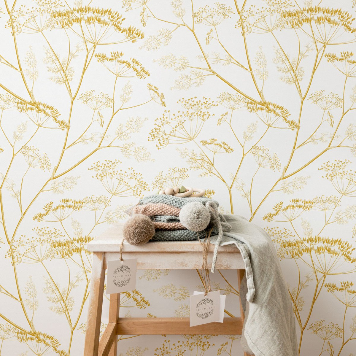 Yellow meadow pattern removable wallpaper for nursery interior