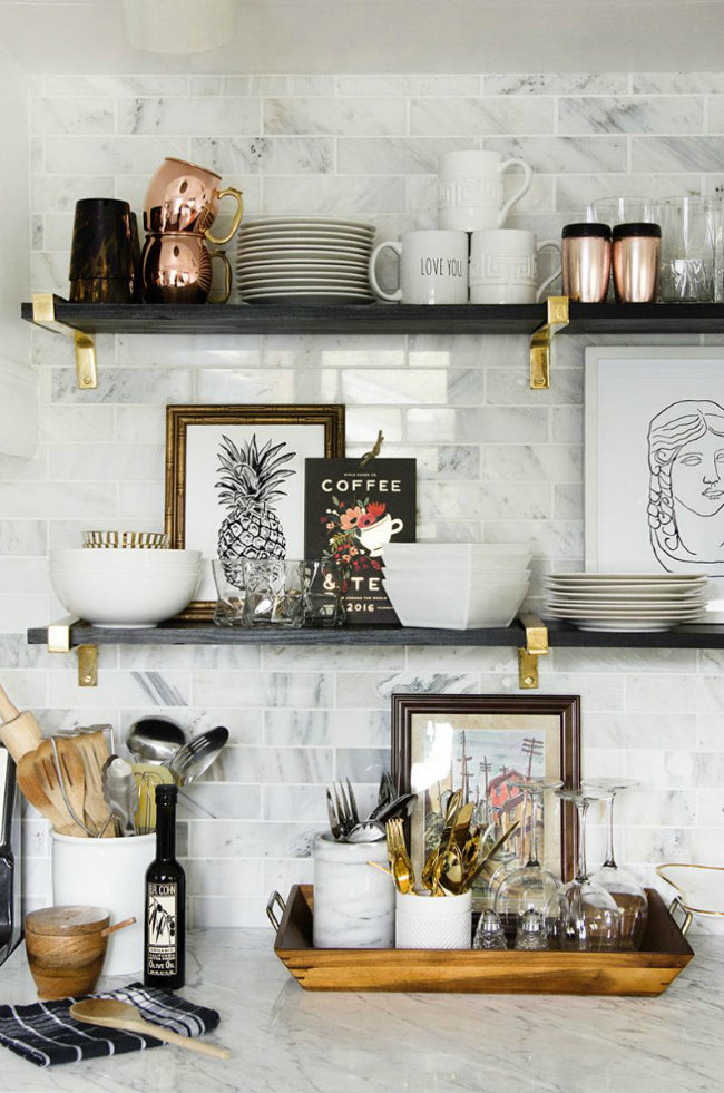 Brass shelf elements