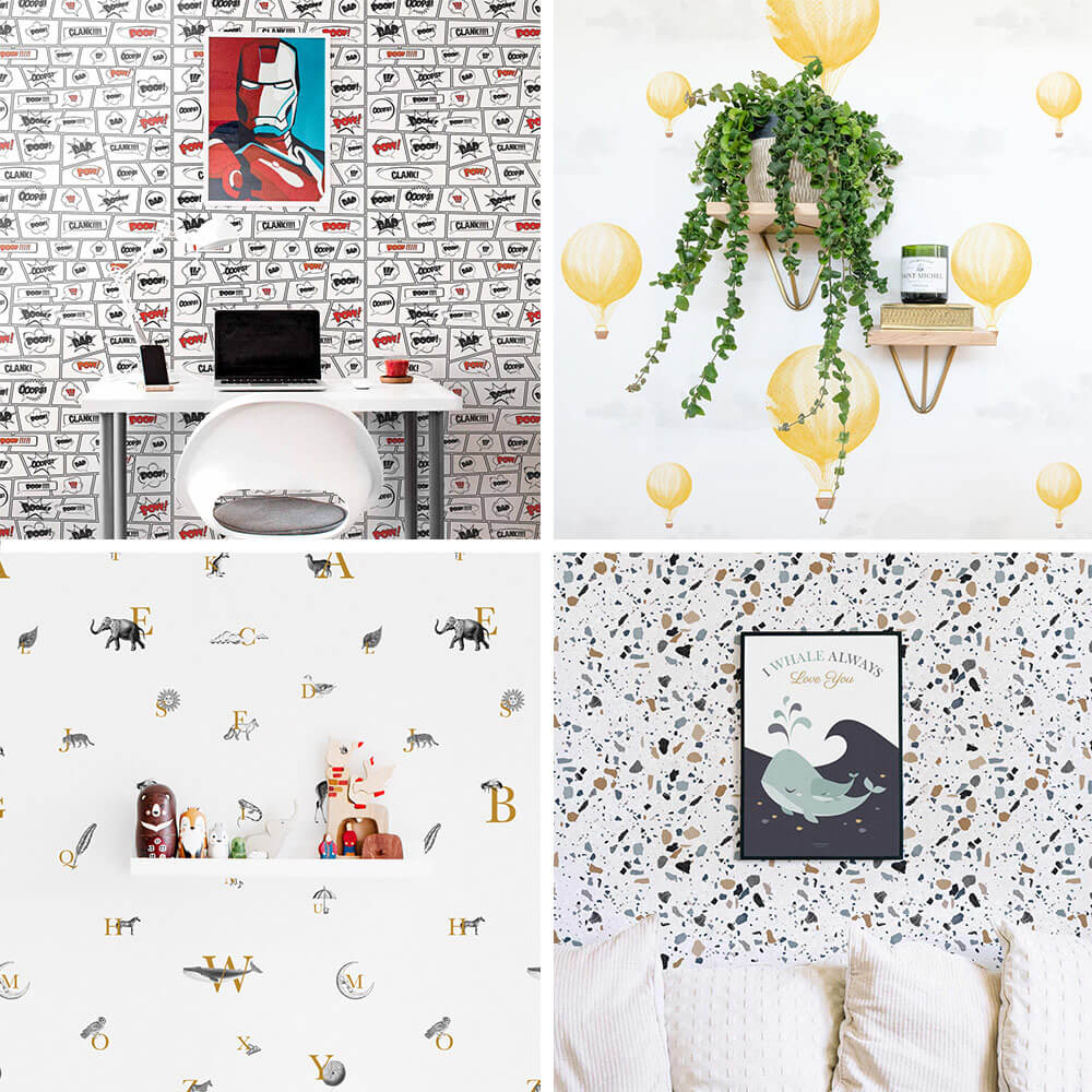 four wallpaper collage with comic book, yellow balloons, alphabet, coastal terrazzo wallpapers