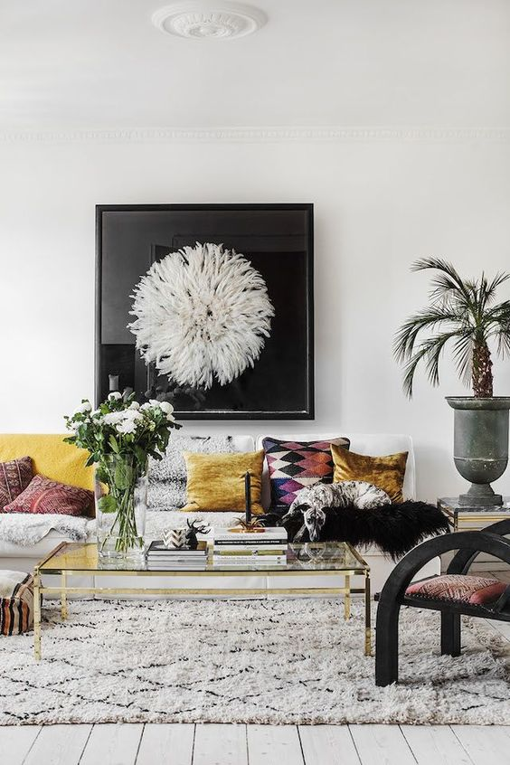 Eclectic minimalist living room with colorful throw pillows