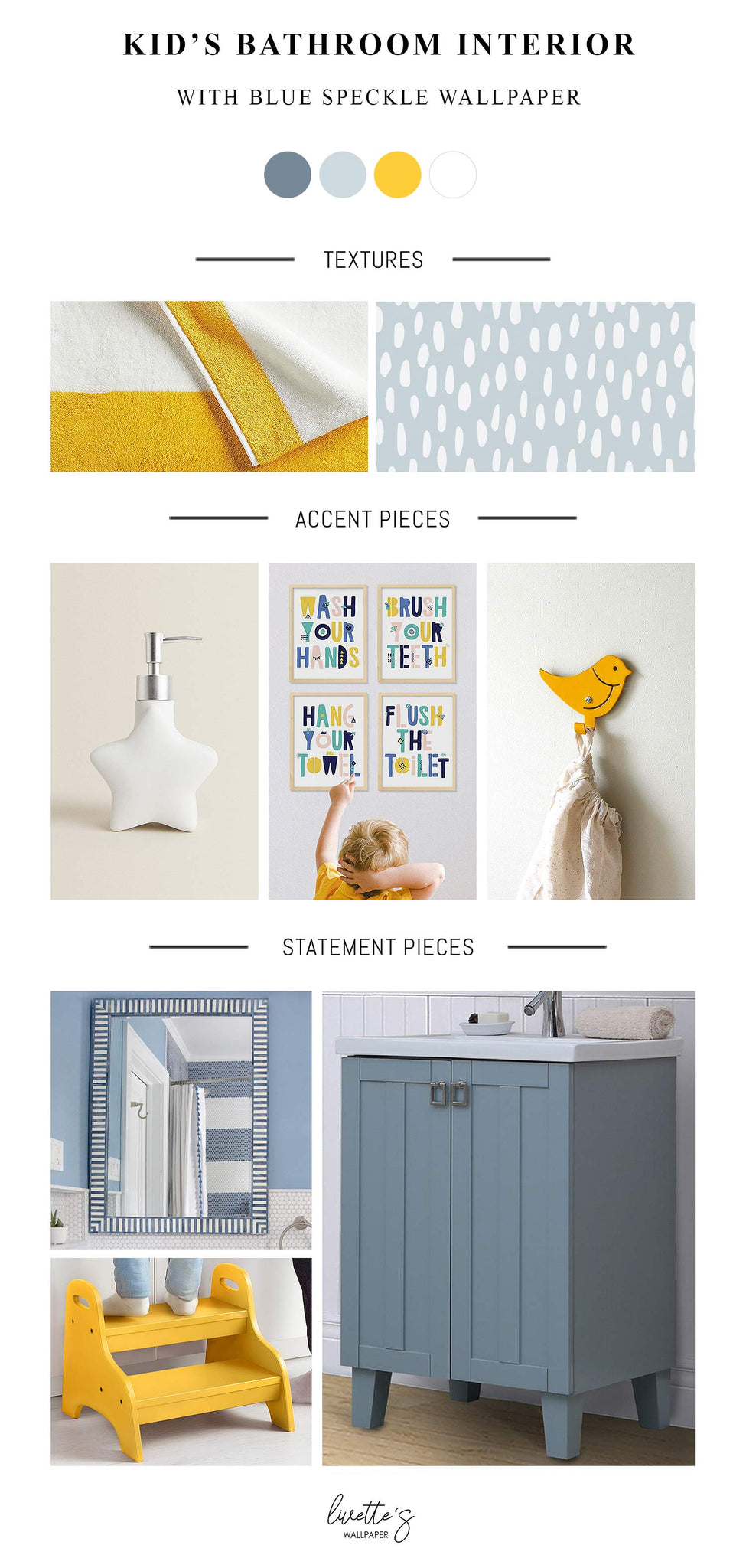 blue and yellow color scheme kid's bathroom interior inspiration