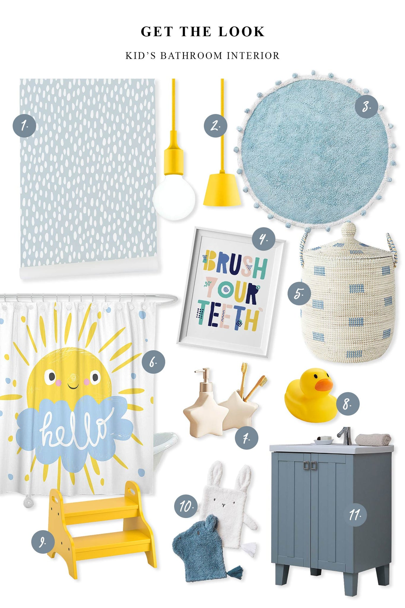 whimsical kid's bathroom interior mood board with furniture and decor