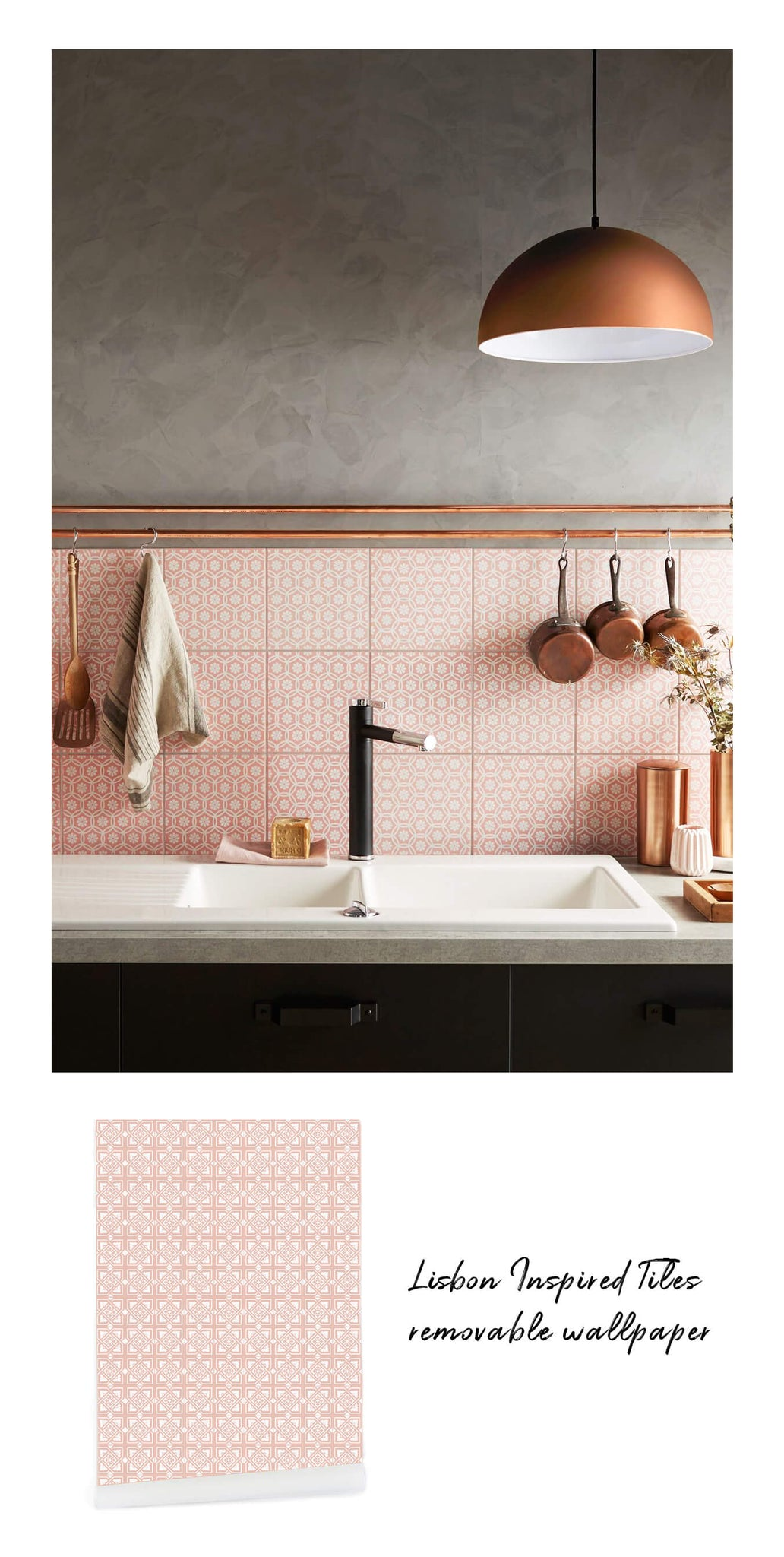 Kitchen interior with coral backsplash and grey and copper accents