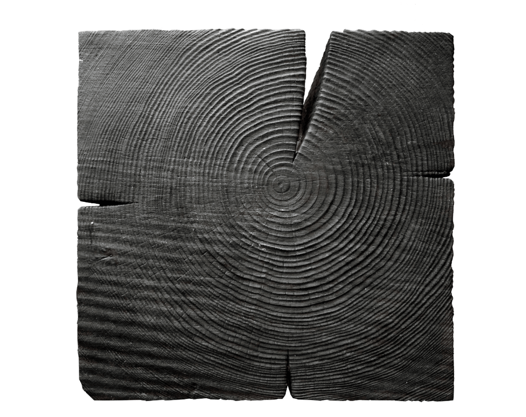 Black wood texture of a geometric bedside table design.
