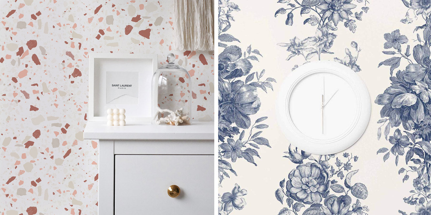 Neutral and clay tones terrazzo pattern wallpaper and blue toile floral wallpaper