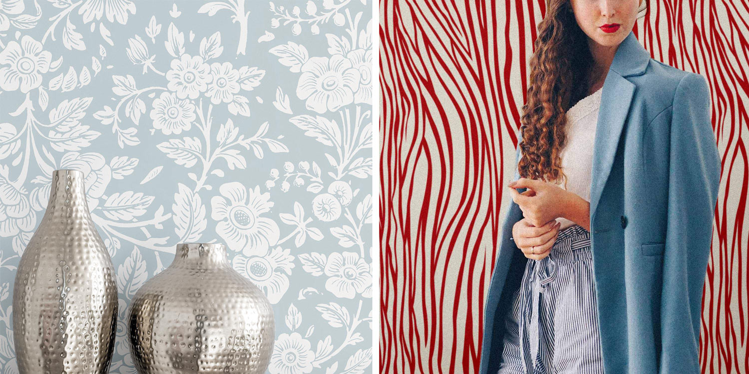 Blue floral wallpaper with silver vases and red zebra print wallpaper with woman in blue coat
