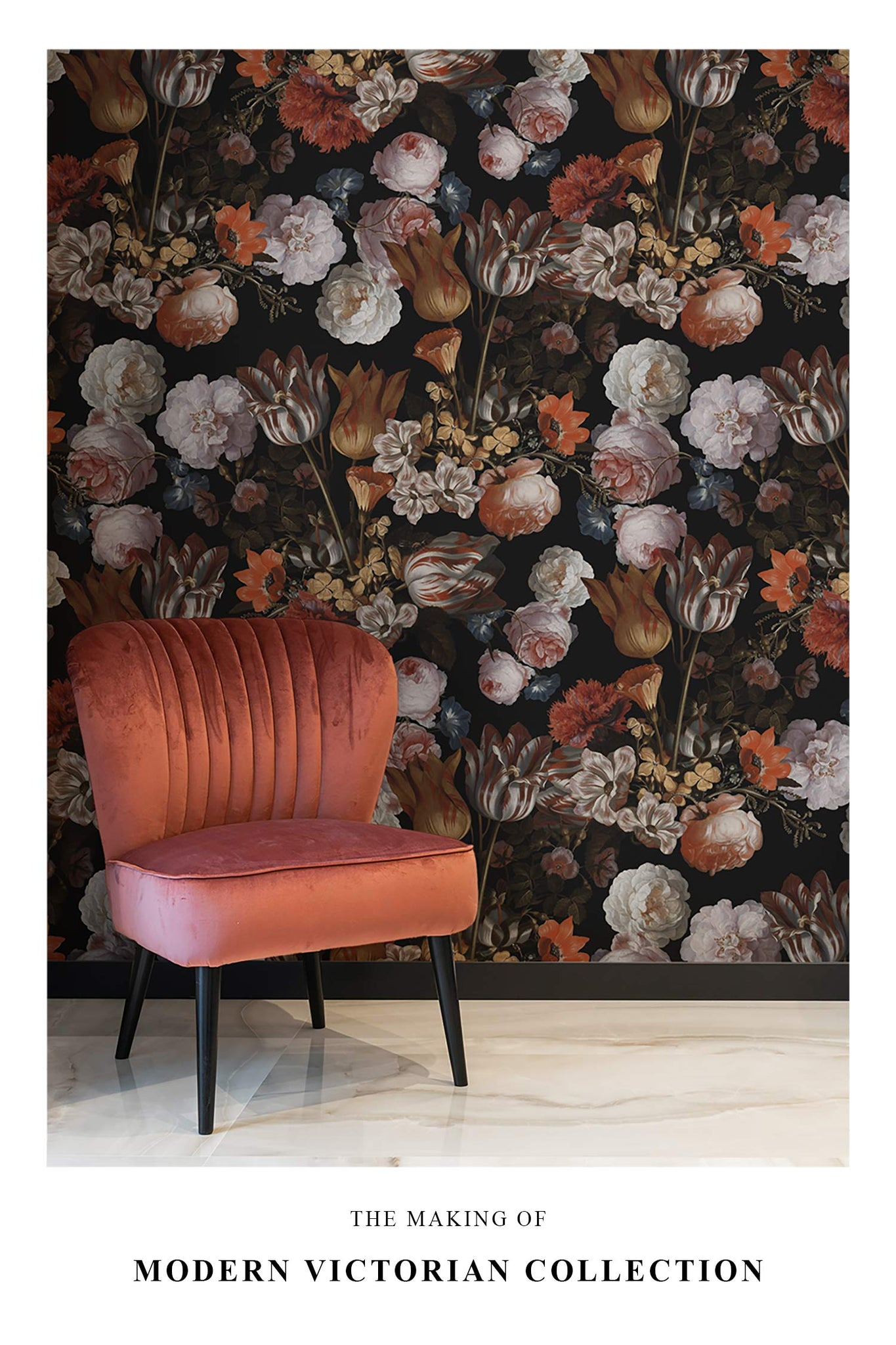Modern victorian floral wallpaper and coral color chair