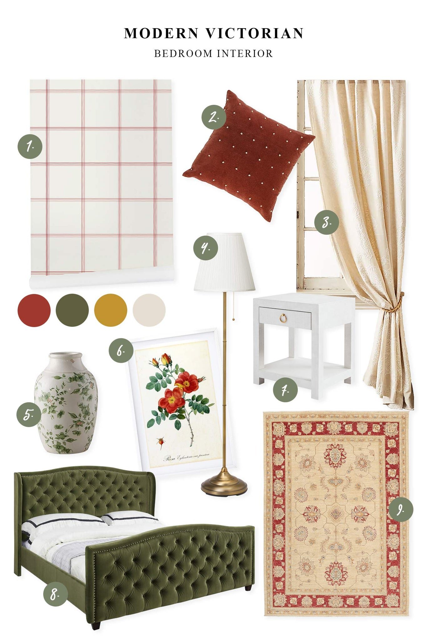 Granny chic bedroom inspirational mood board in red and khaki color palette