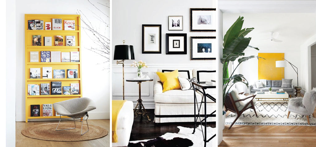Yellow accent details in interior