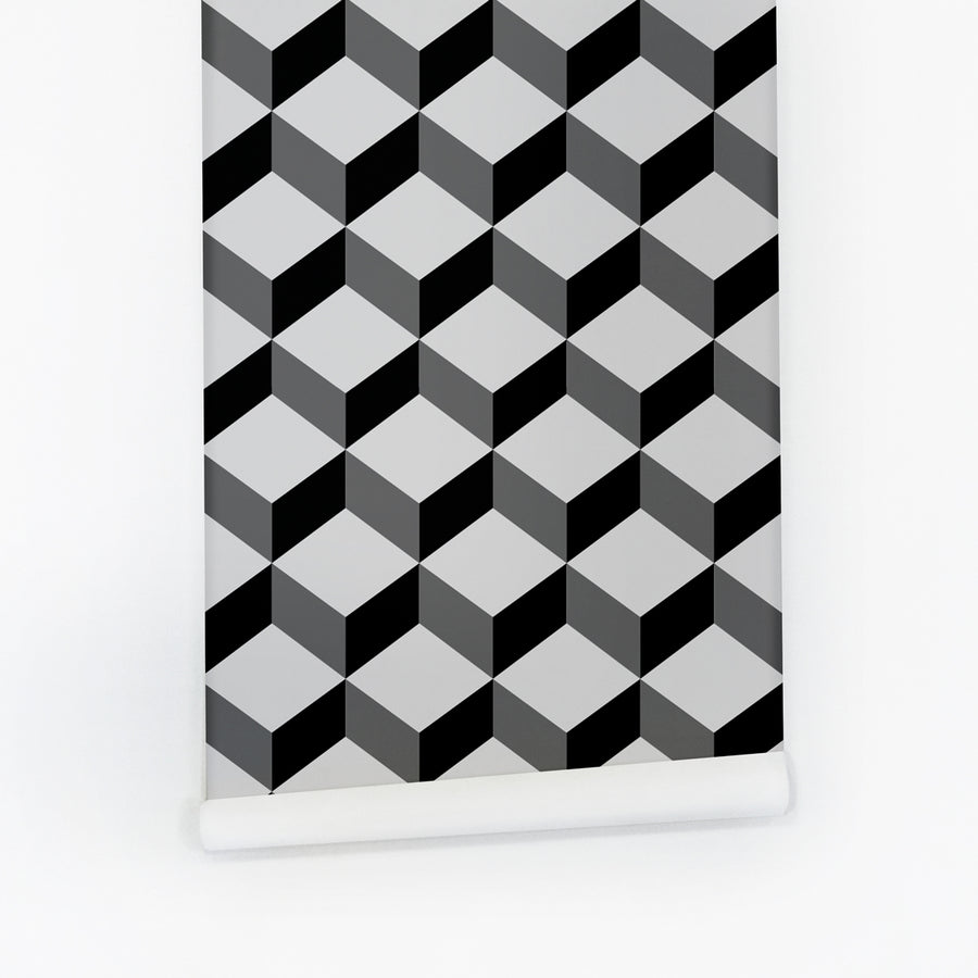 Grey Cube removable wallpaper