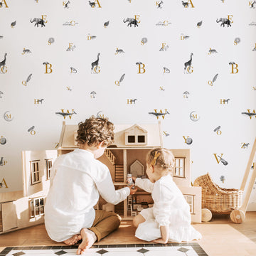 Alphabet pattern removable wallpaper with illustrations