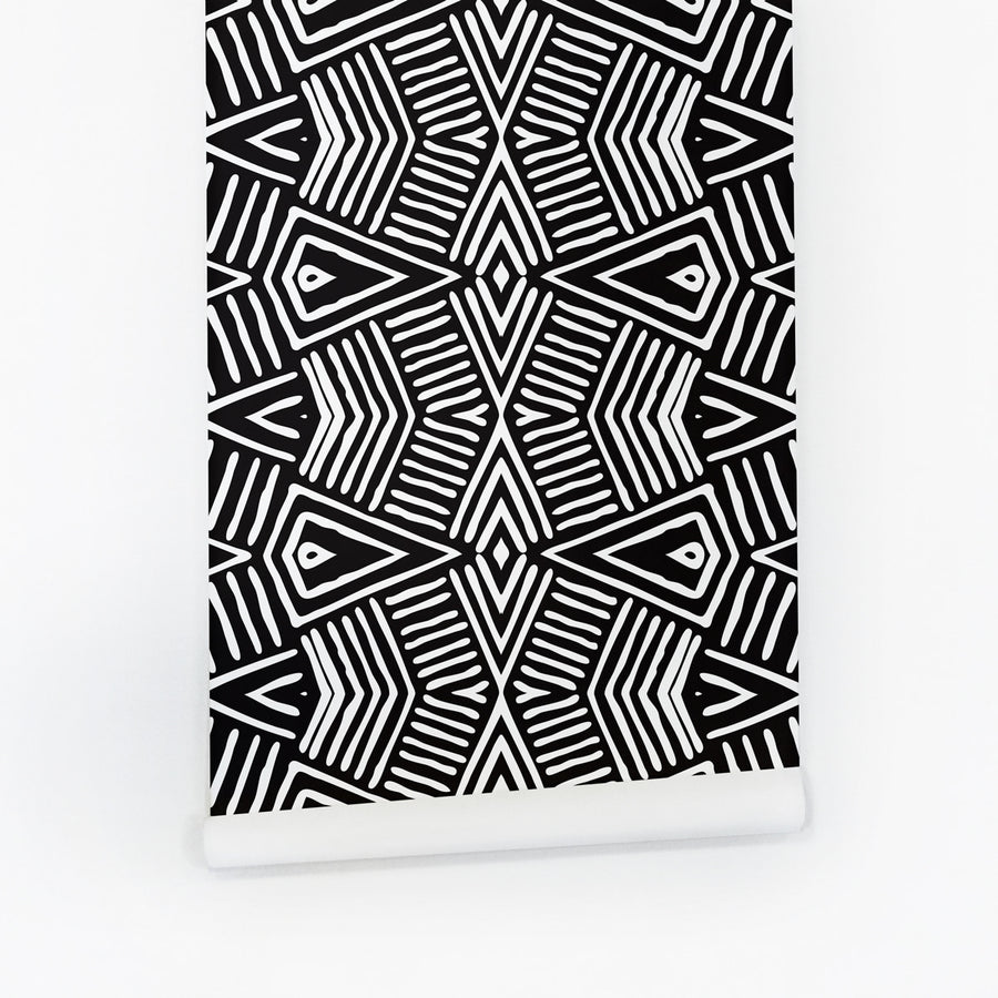 Africa inspired black and white geometric peel and stick wallpaper